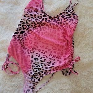 Pink leopard one piece